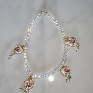 Handmade Beaded Bracelet with Roses